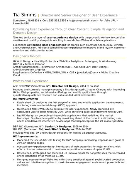 Ux Resume by Sle Resume For An Experienced Ux Designer