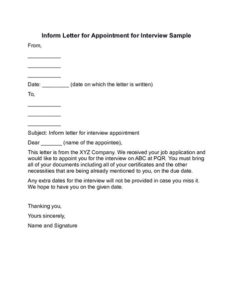 appointment letter subject inform letter for appointment for sle free