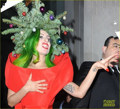 full sized photo of lady gaga dresses as christmas tree