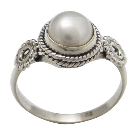 Handcrafted Sterling Silver Jewelry - pearl 925 sterling silver ring band handcrafted