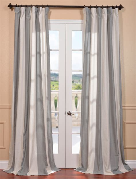 Gray Linen Curtains Mar Gray Linen Blend Stripe Curtain Contemporary Curtains San Francisco By Half