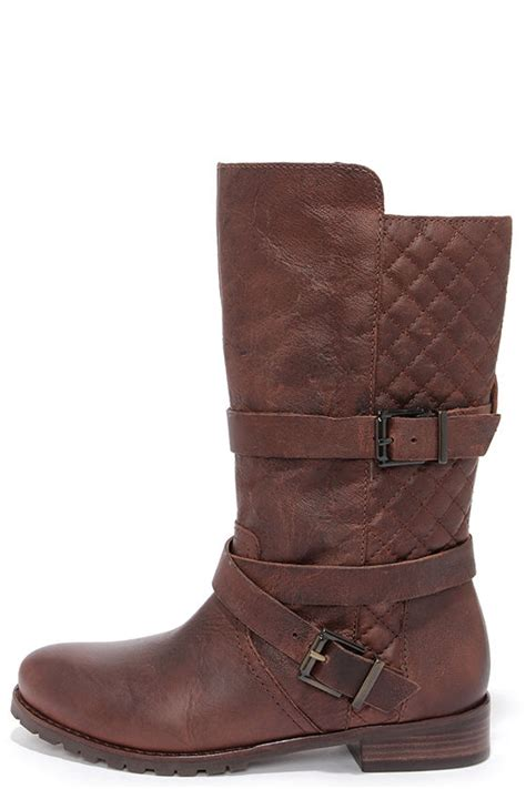 matisse rosalie brown leather boots mid calf boots