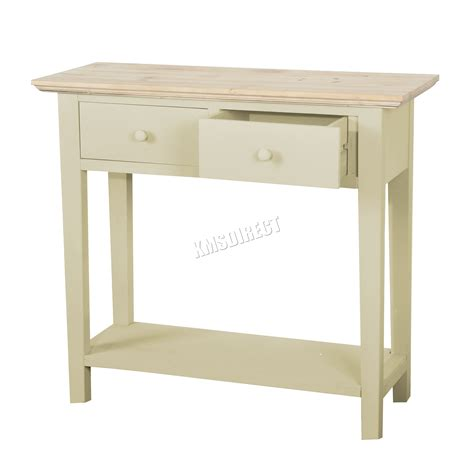 Kitchen Console Table Foxhunter Console Table 2 Drawers Wood Hallway Side Storage Kitchen Ctw01 Ebay