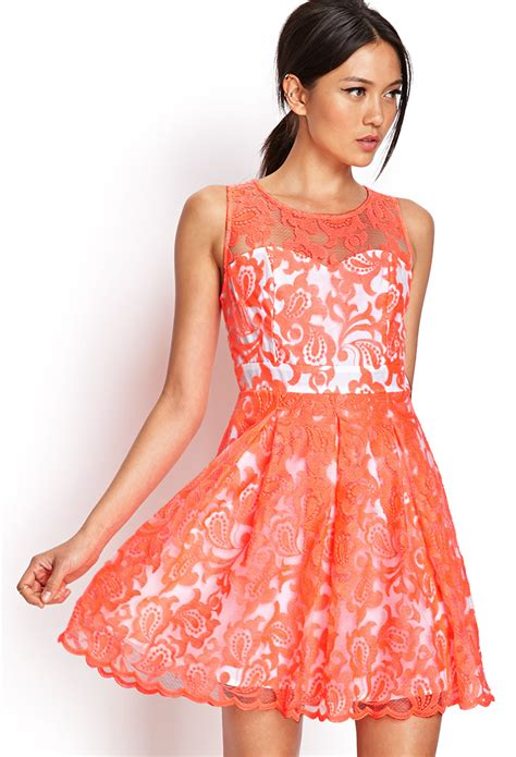 Forever21 Orange Dress forever 21 embroidered fit flare dress in orange neon coral ivory lyst