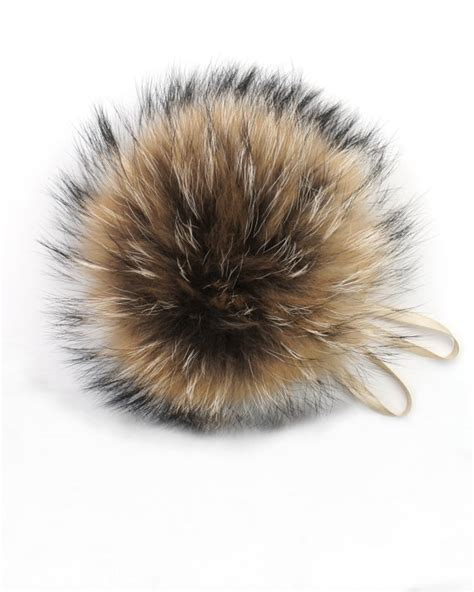 raccoon pomeranian real fur pom pom hat raccoon pompom fox fur pompom large pom