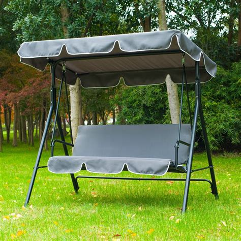3 seater swing chair outsunny swing chair 3 seater cushioned bench aosom co uk