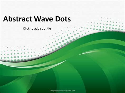 Free Abstract Green Wave Dots Powerpoint Template Free Abstract Powerpoint Templates