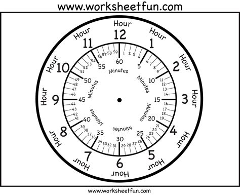 clock face with minutes printable worksheets clock