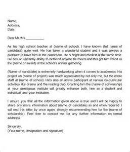 Sle Letter Of Recommendation For Of The Year by Sle Letter Of Recommendation For Scholarship 29 Exles In Word Pdf