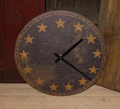 Navy Blue Primitive Decor and clock on