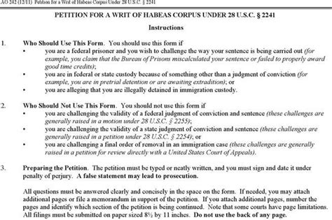 Sle Petition Writ Habeas Corpus Petition For Writ Of Habeas Corpus Free Premium Templates Forms Sles For Jpeg