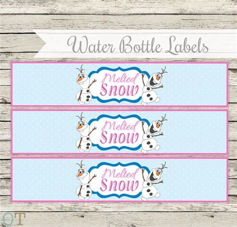 free printable melted olaf labels frozen water bottle labels instant download pdf party