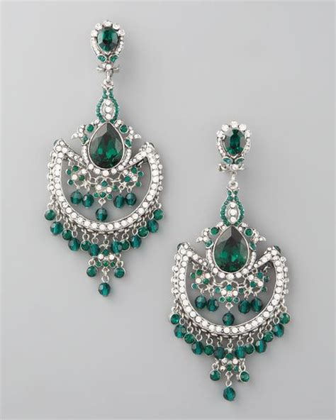 Green Chandelier Earrings Jose Barrera Green White Chandelier Earrings In Green Lyst