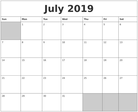 printable calendar for 2019 july 2019 blank printable calendar