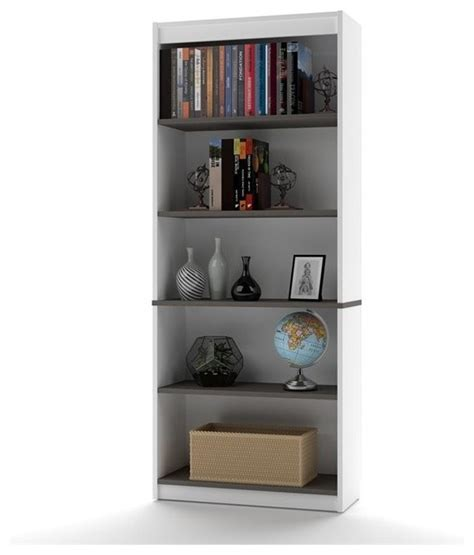 contemporary white bookcase bestar innova 5 shelf bookcase white and antigua