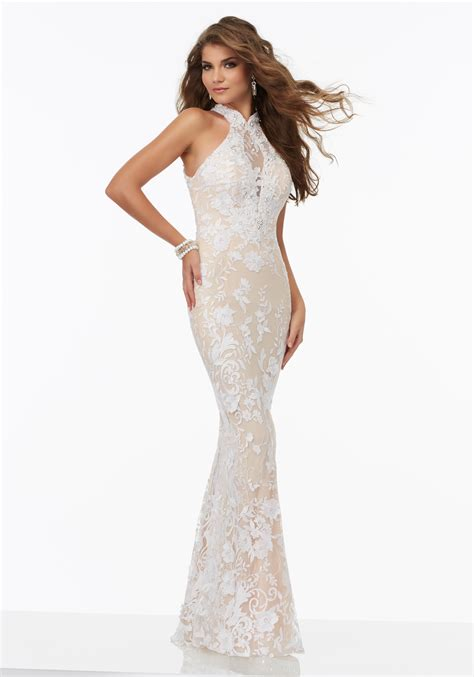 Prom Wedding Dresses Uk by Lace Prom Dress With An Illusion Halter Neckline Style