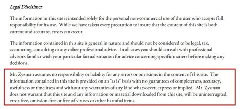 Disclaimer Exles Termsfeed Financial Advice Disclaimer Template