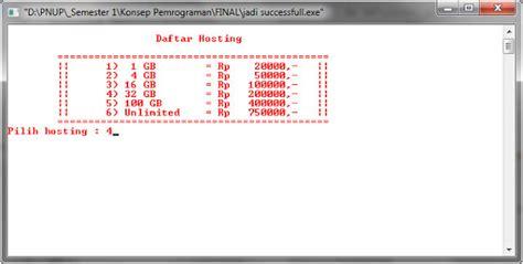 pemrograman bahasa  program kasir pembelian domain