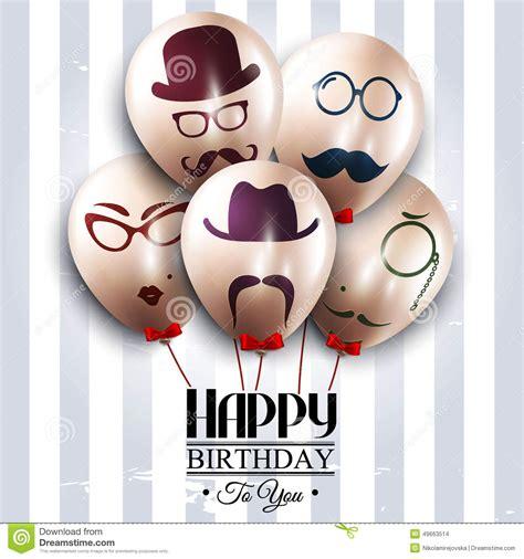 imagenes hipster de feliz cumpleaños vector birthday card balloons with silhouettes on stock