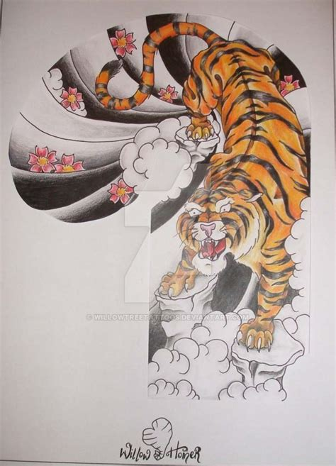 japanese tiger half sleeve by willowtreetattoos on