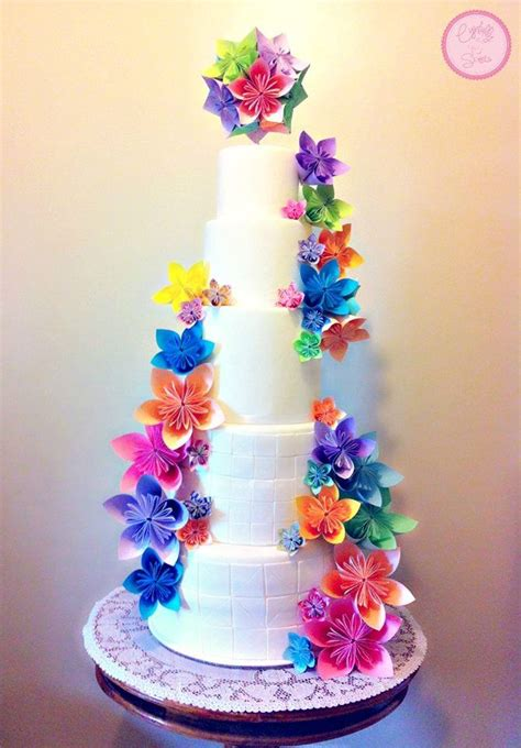 bright origami flowers wedding cakes