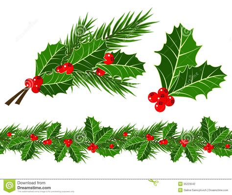 christmas leaf leaves and berries stock vector image of berry 35223542
