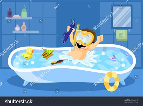 fun in the bathtub bathtub diving little boy having fun stock vector 46854817 shutterstock