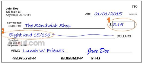 write a check with dollars and cents exle