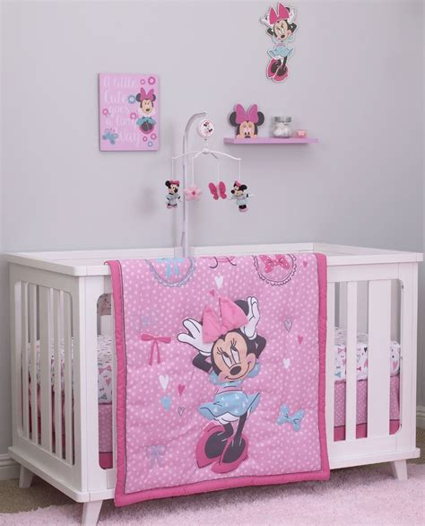 Disney Minnie Mouse 4 Piece Crib Bedding Set All About Disney Minnie Mouse Crib Bedding Set
