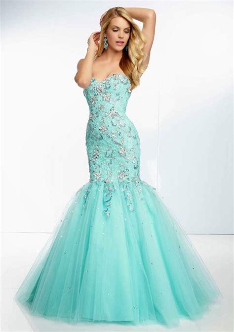 aqua blue beaded strapless bridesmaid dress with