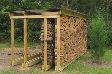 backyard rustic house design with diy covered firewood