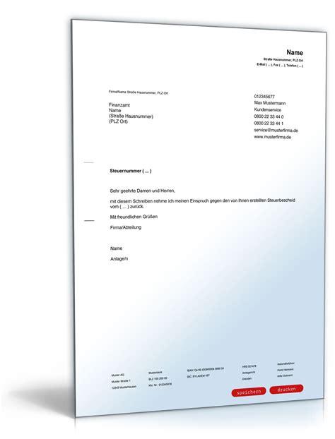 Musterbriefe Kostenlos R 252 Cknahme Einspruch Steuerbescheid Vorlage Zum