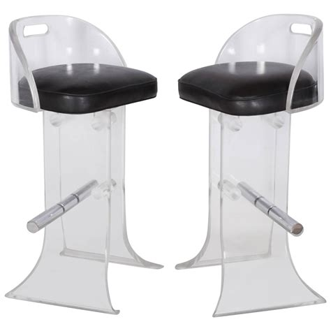 lucite bar stools for sale pair of lucite bar stools by charles hollis jones for sale