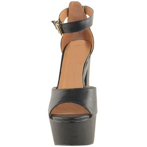chunky high heel sandals new womens ankle platform chunky high heel