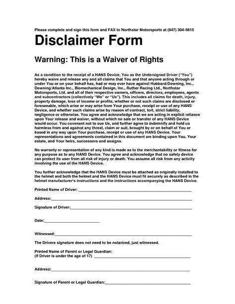 disclaimer form template 10 best images of disclaimer notice for documents