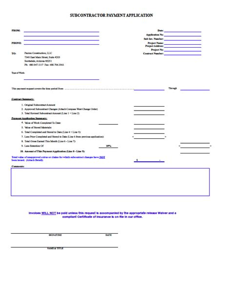 Construction Payment Application Template Hardhost Info Subcontractor Application Template