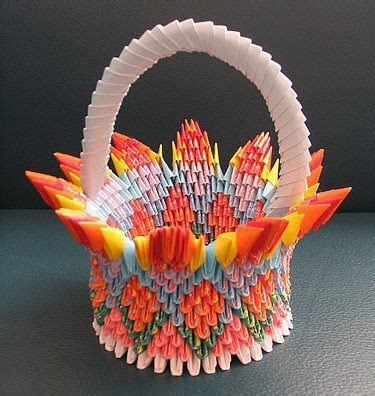 3d Origami Basket - 3d origami flower by flower basket paper crafts