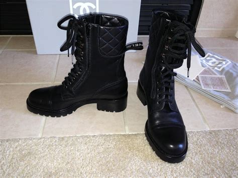 chanel quilted black motorcycle combat leather boots 8 39