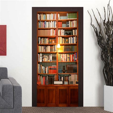 2 pcs set retro book cabinet wall stickers diy mural