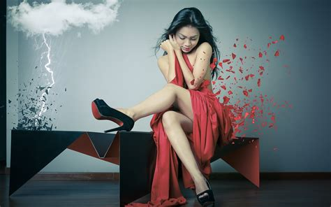 wallpaper girl red red dress girl clouds lightning creative pictures
