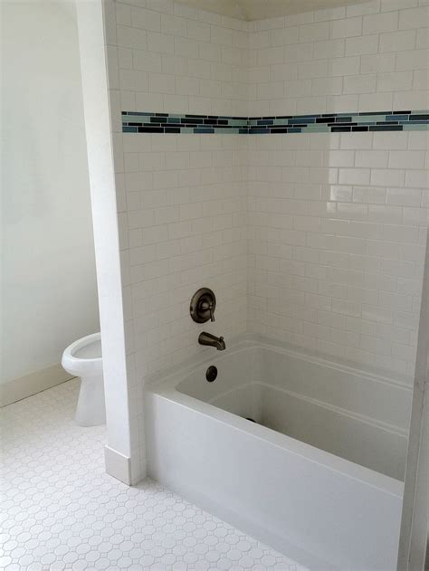 bathroom tile trim subway tile walk in shower subway tile with glass tile