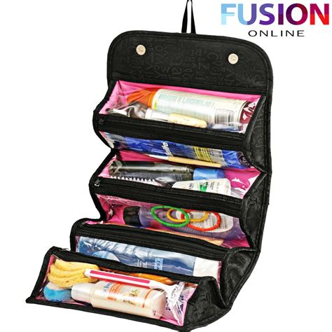 Travel Toiletries Makeup Pouch by Roll N Go Makeup Cosmetic Bag Roll Up Travel Pouch