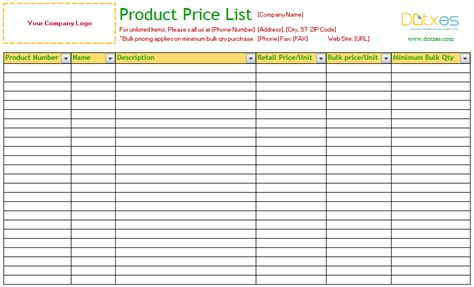 Product Price List Excel Standard List Templates Dotxes Pinterest List Template Brand Checklist Template