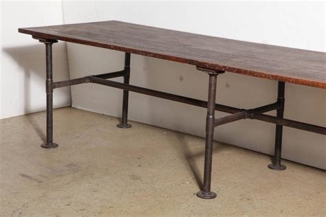 19th century 10 foot solid black walnut industrial