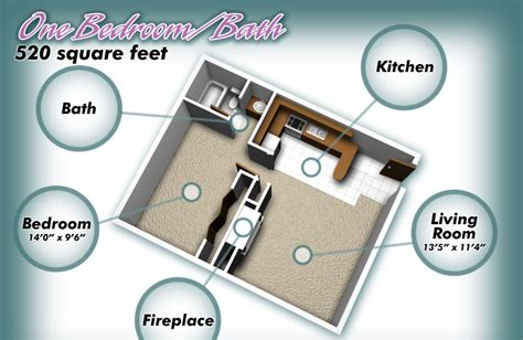 520 Square Feet | sierra charles apartments one bedroom bath floorplan