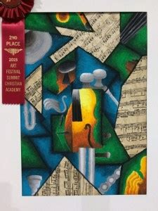 cubism instrument oil pastel  collage art lesson