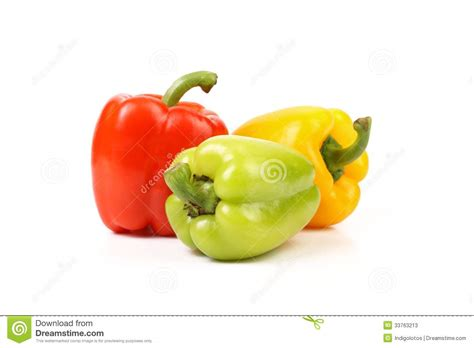 colored peppers three colored peppers stock photos image 33763213