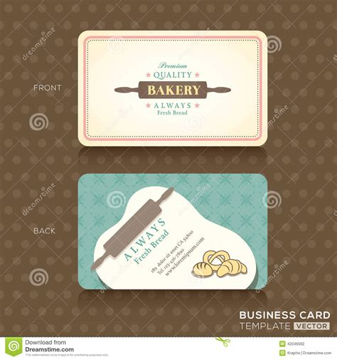 business card template for a bakery retro vintage business card for bakery house stock vector