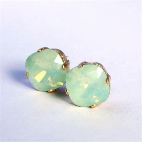 green opal earrings mint green opal crystal stud earrings classic sparkling
