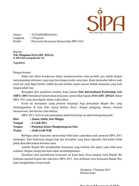 surat permohonan kerjasama sponsorship arsip